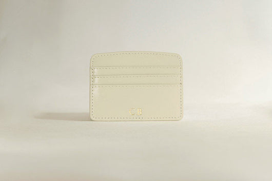 Initialled Leather Card Holder Ivory