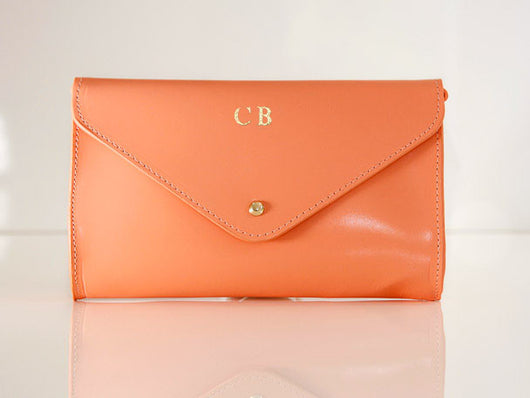 Initialled Leather Clutch Bag Coral