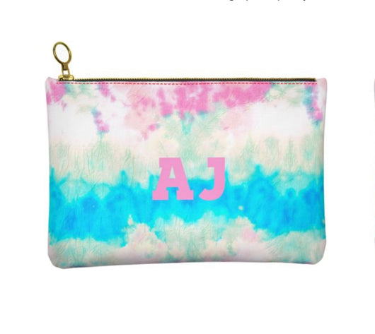 Personalised Genuine Nappa Leather Clutch - Cosmetic Bag in Tie Dye Swirl