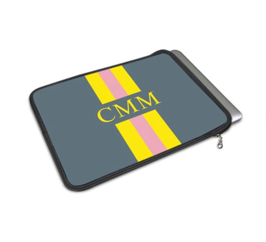 Personalised Luxury Macbook Pouch Grey with Yellow and Pink Stripes Initials or Name