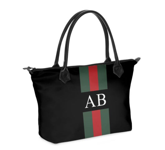 Personalised Luxury Tote Bag Handmade in Sumptuous Nappa Leather or Monroe Satin. Black Striped