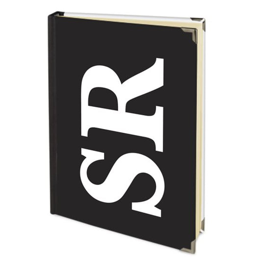 Personalised Satin Journal Black with White Side Initials Handbound In The UK
