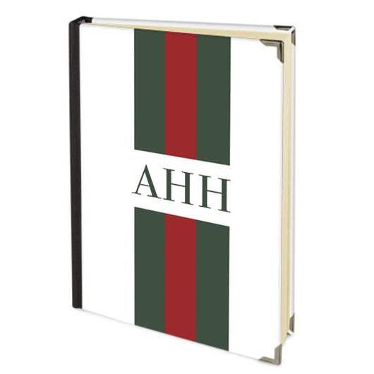 Personalised Satin Journal Red and Green Striped with Initials Handbound In The UK