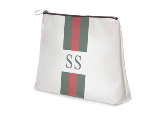 Superior Personalised Luxury Nappa Leather Clutch Bag White Striped