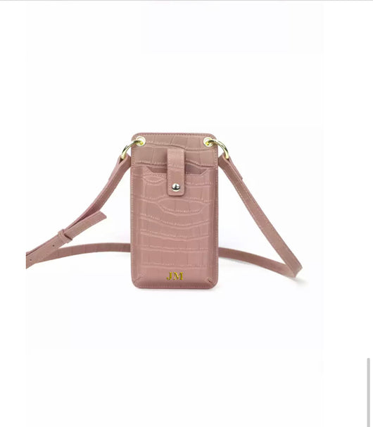 Genuine Leather Alligator Crossbody Phone Pouch Pastel Pink