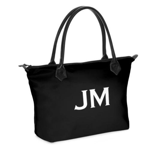 Personalised Luxury Tote Bag Handmade in Sumptuous Nappa Leather or Monroe Satin. Black