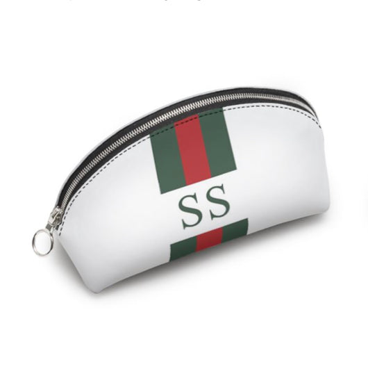 Personalised Genuine Luxury Nappa Leather Cosmetic Bag White Striped