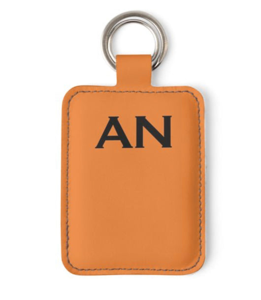 Personalised Luxury Nappa Leather Keyring. Orange