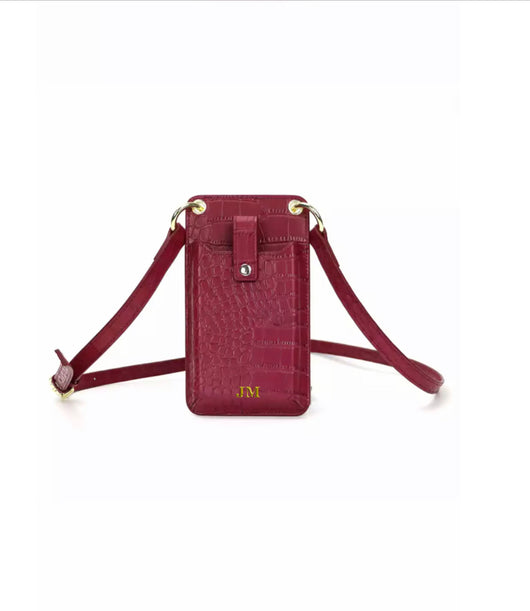 Genuine Leather Alligator Crossbody Phone Pouch Burgundy