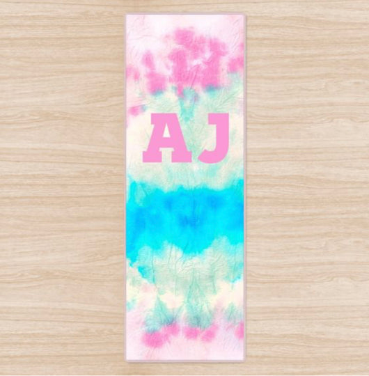 Personalised Yoga Mat Pastel Tie Dye Design with Initials