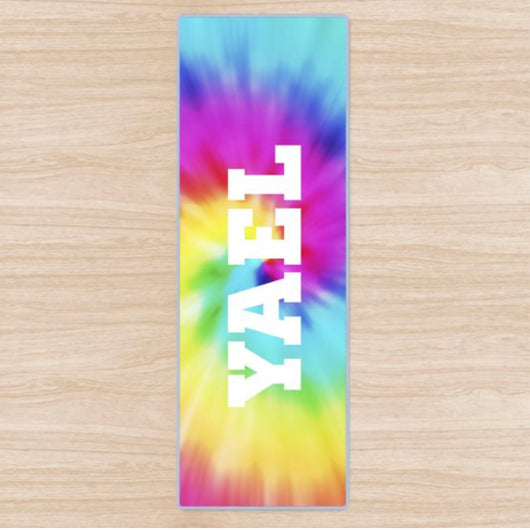 Personalised Yoga Mat Tie Dye Swirl Design with Initials