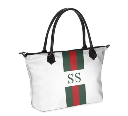 Personalised Luxury Tote Bag Handmade in Sumptuous Nappa Leather or Monroe Satin. White Striped