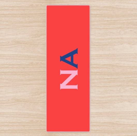 Personalised Yoga Mat Red with Pink and Navy Side Initials