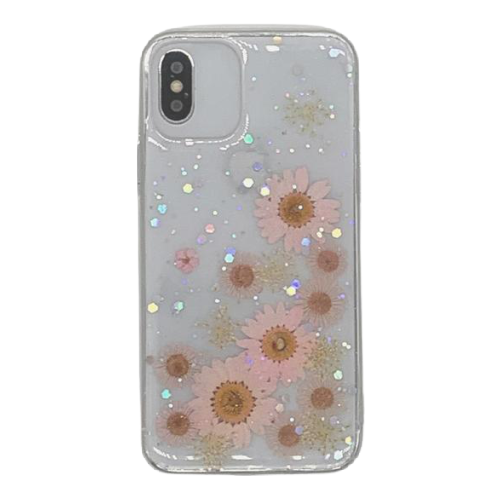 Real Pressed Flower Translucent Phone Case Pink