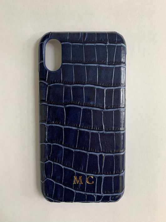 Luxury Genuine Leather Croc Effect Navy with Gold Initials