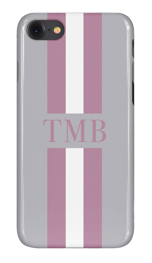Smoke Grey Initialed Case with Purple and White Stripe