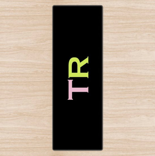 Personalised Yoga Mat Black with Pink and Lime Green Side Initials