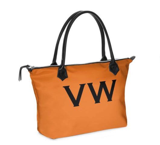 Personalised Luxury Tote Bag Handmade in Sumptuous Nappa Leather or Monroe Satin. Orange