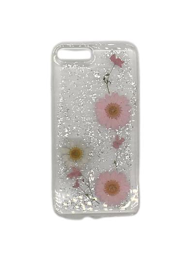Real Pressed Flower Translucent Phone Case Pink And White