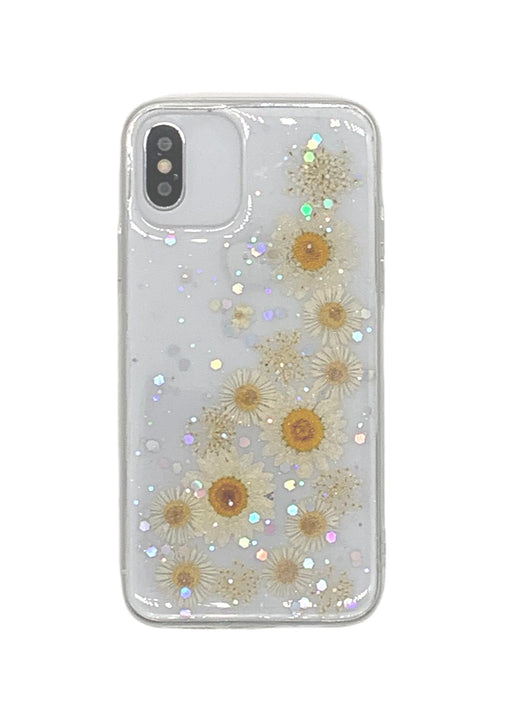Real Pressed Flower Translucent Phone Case White