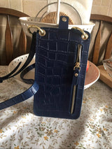 Genuine Leather Alligator Crossbody Phone Pouch Black