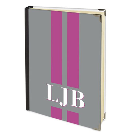 Personalised Satin Journal Grey with Hot Pink Stripes and Initials Handbound In The UK