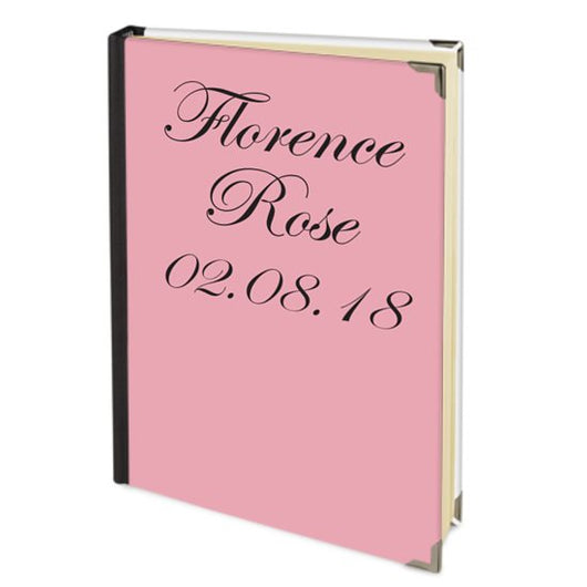Personalised Satin Journal Pink with Birth of a Child Date Handbound In The UK