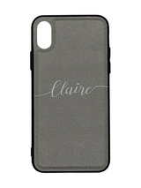 Silver Grey Personalised Saffiano Leather Phone Case with Contrasting Bumper