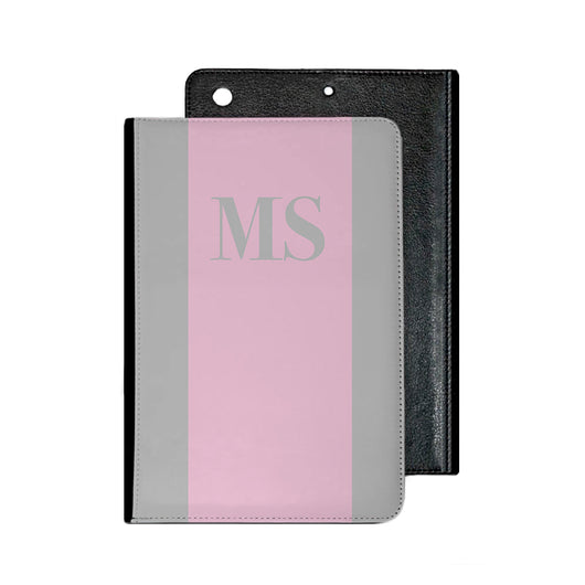 Grey with Pink Initial Stripe IPad Case