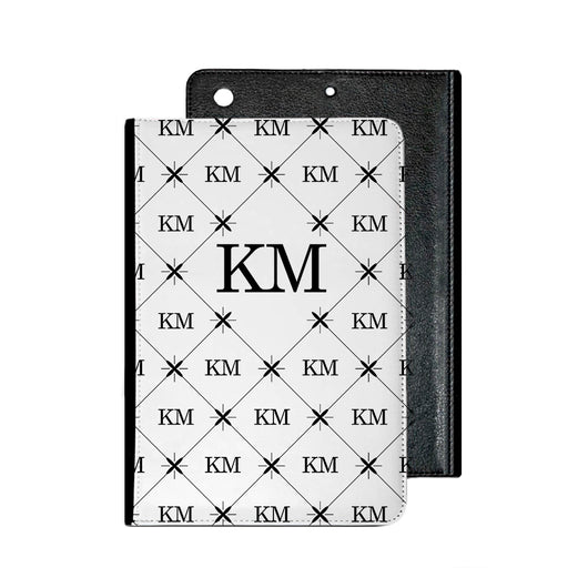 White with Multi Black Initials IPad Case