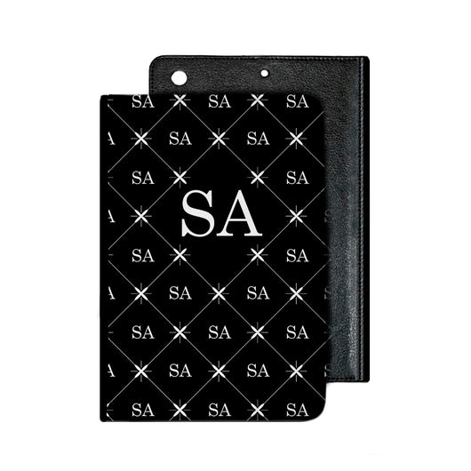 Black with Multi White Initials IPad Case