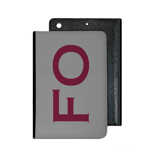 Large Side Initial Silver Grey IPad Case