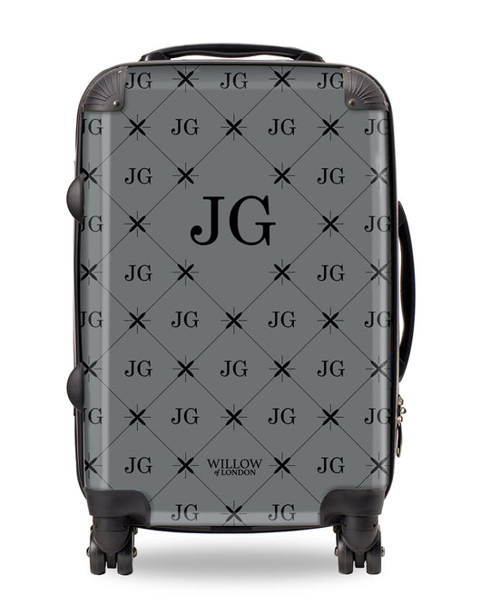 Personalised Suitcase Grey with Multi Black Initials