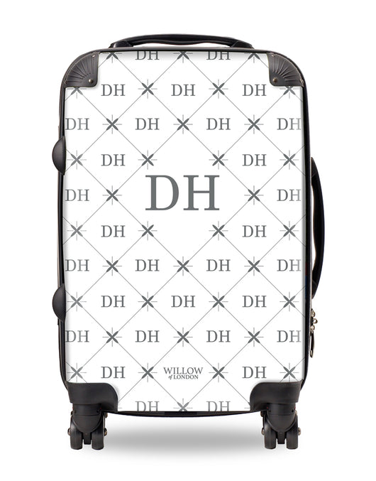 Personalised Suitcase White with Multi Grey Initials