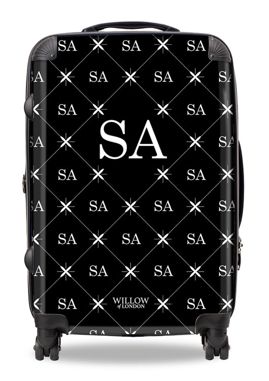 Personalised Suitcase Black with Multi White Initials