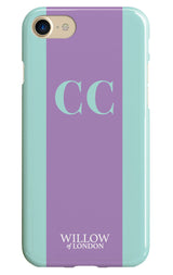 Teal with Lilac Initial Stripe