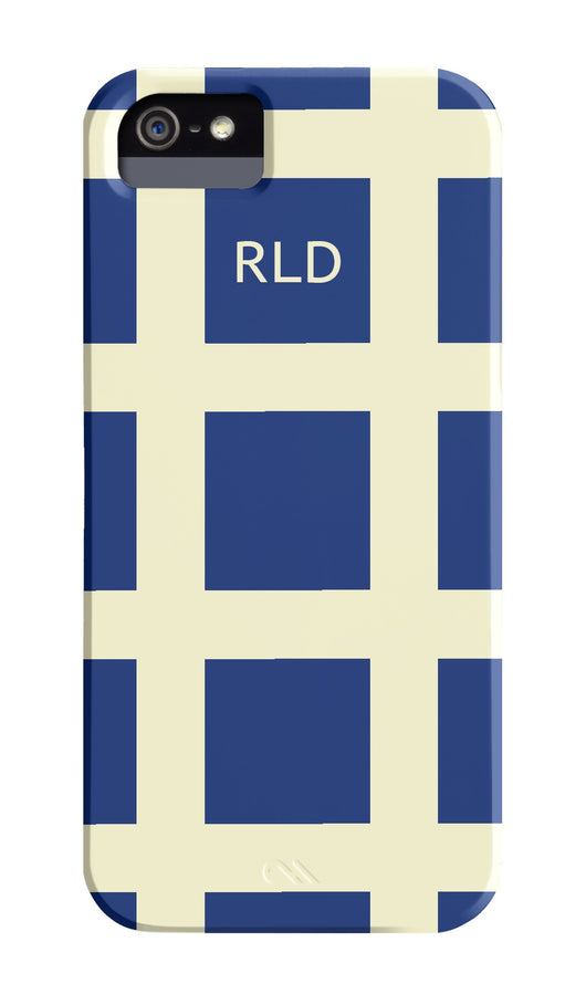 Navy with Cream Check Initial Cover