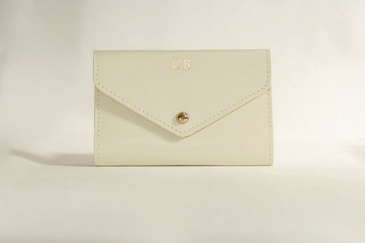 Initialled Leather Passport Holder Ivory
