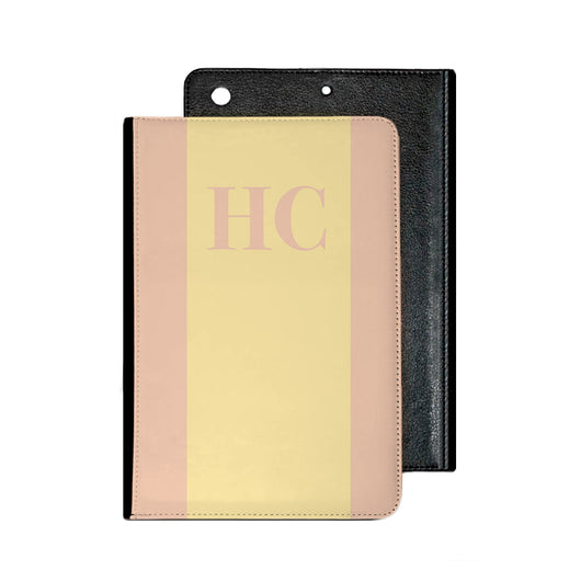 Peach with Lemon Initial Stripe IPad Case
