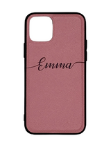 Rose Pink Personalised Saffiano Leather Phone Case with Contrasting Bumper