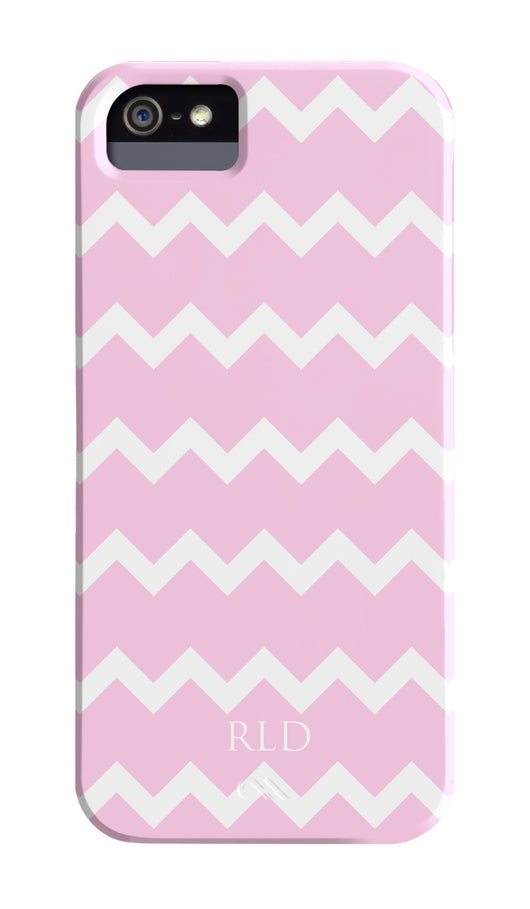 Pink and White Chevron Initial Cover
