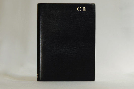 Initialled Ruled Leather Notebook Black