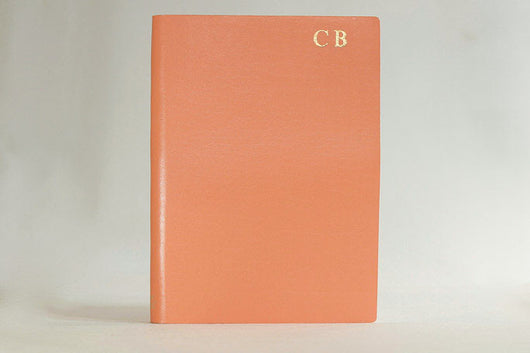 Initialled Ruled Leather Notebook Coral