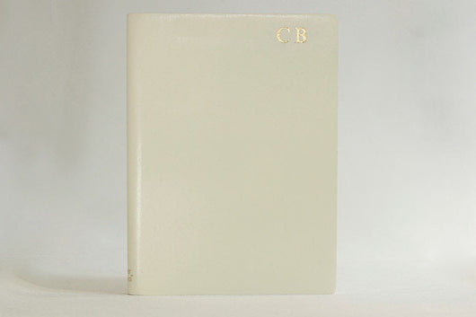 Initialled Ruled Leather Notebook Ivory
