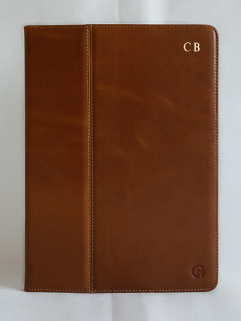 Initialled Luxury Leather Ipad Case Tan