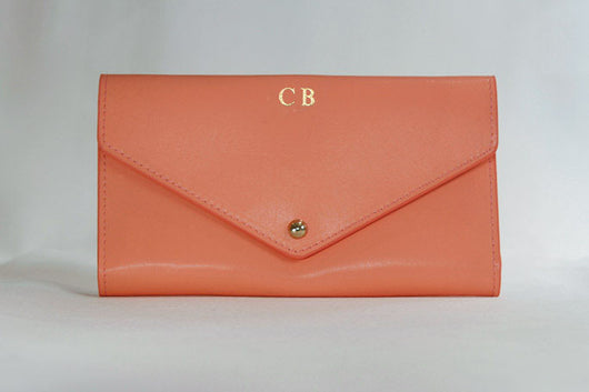 Initialled Leather Travel Wallet Coral