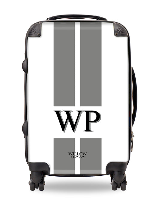 Personalised Suitcase White with Grey Stripes and Matching Initials