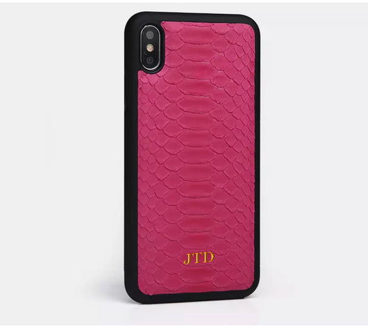 Hot Pink Real Leather Python Style Case with Gold Embossed Initials