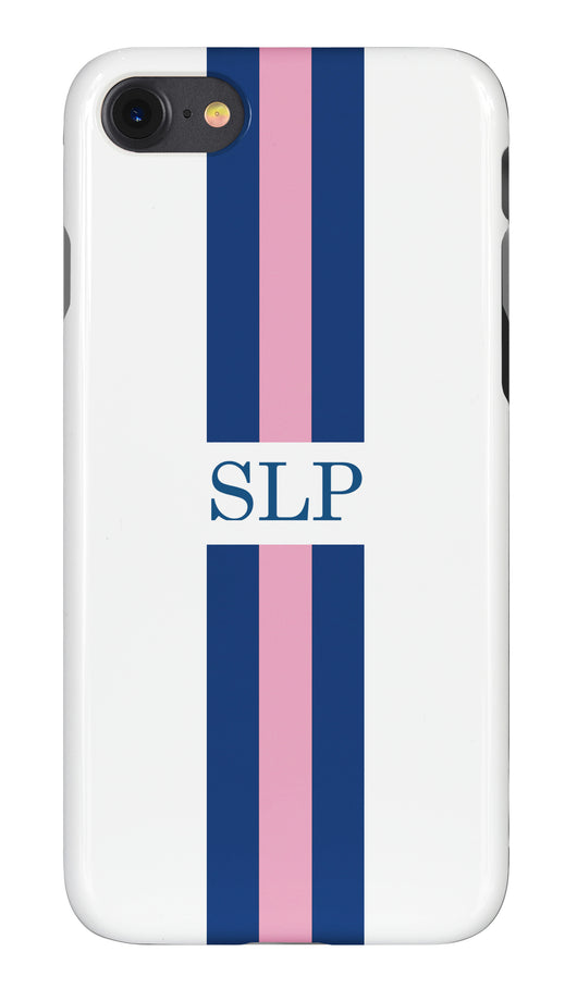 Blue and Pink Striped Initial Phone Case
