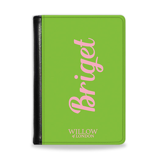 Personalised Passport Wallet Lime Green With Hot Pink Initials